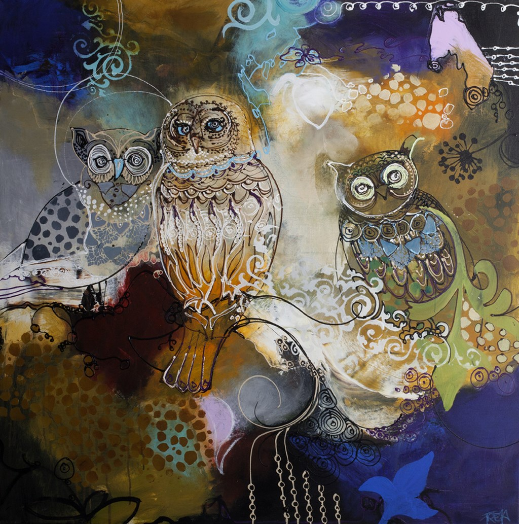 GREEN OWL - Original Paintings - size 100x100cm