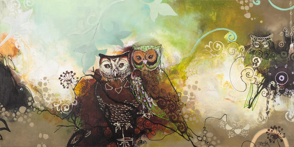 OWL BORDEAUX - Original Paintings - size 140x70cm