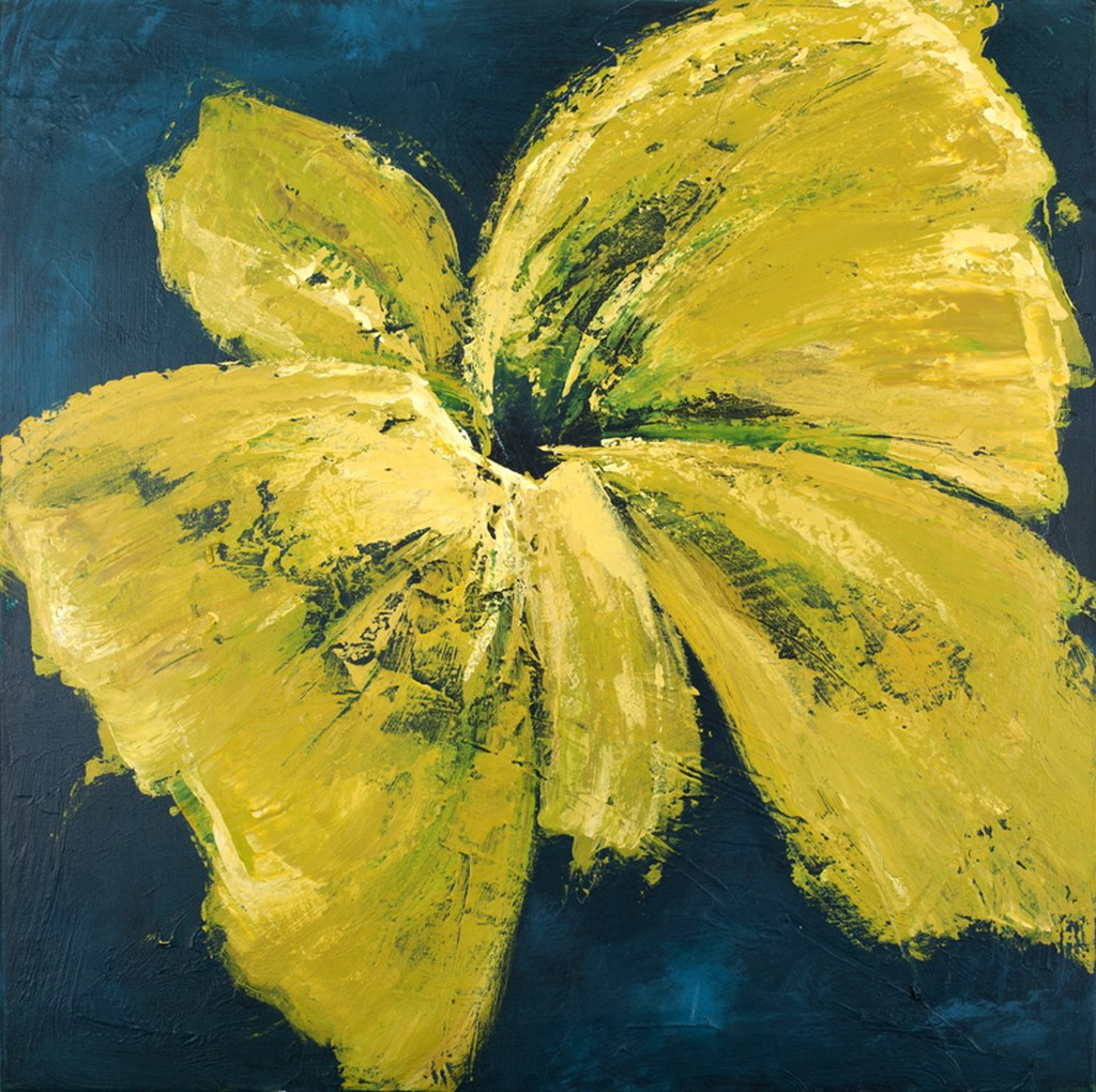 YELLOW DAHLIA - Original Paintings - wymiary 100x100cm