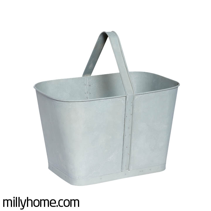 BASKET W/HANDLE zinc