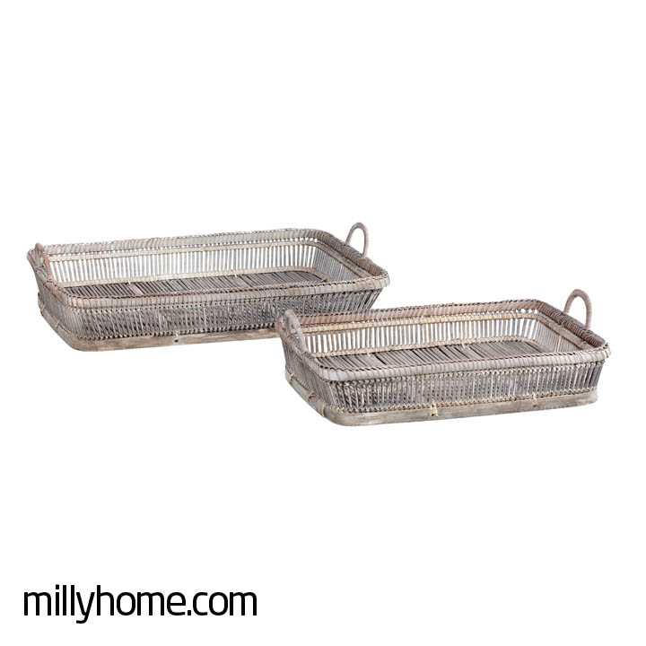 BASKET W/HANDLE long, antique grey