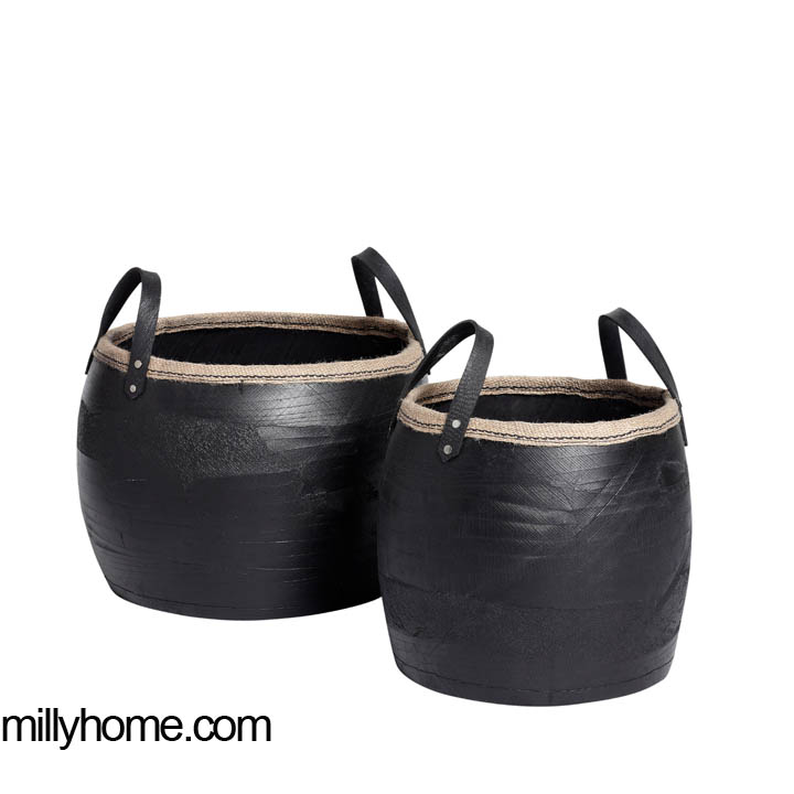 STORAGE BASKET round black