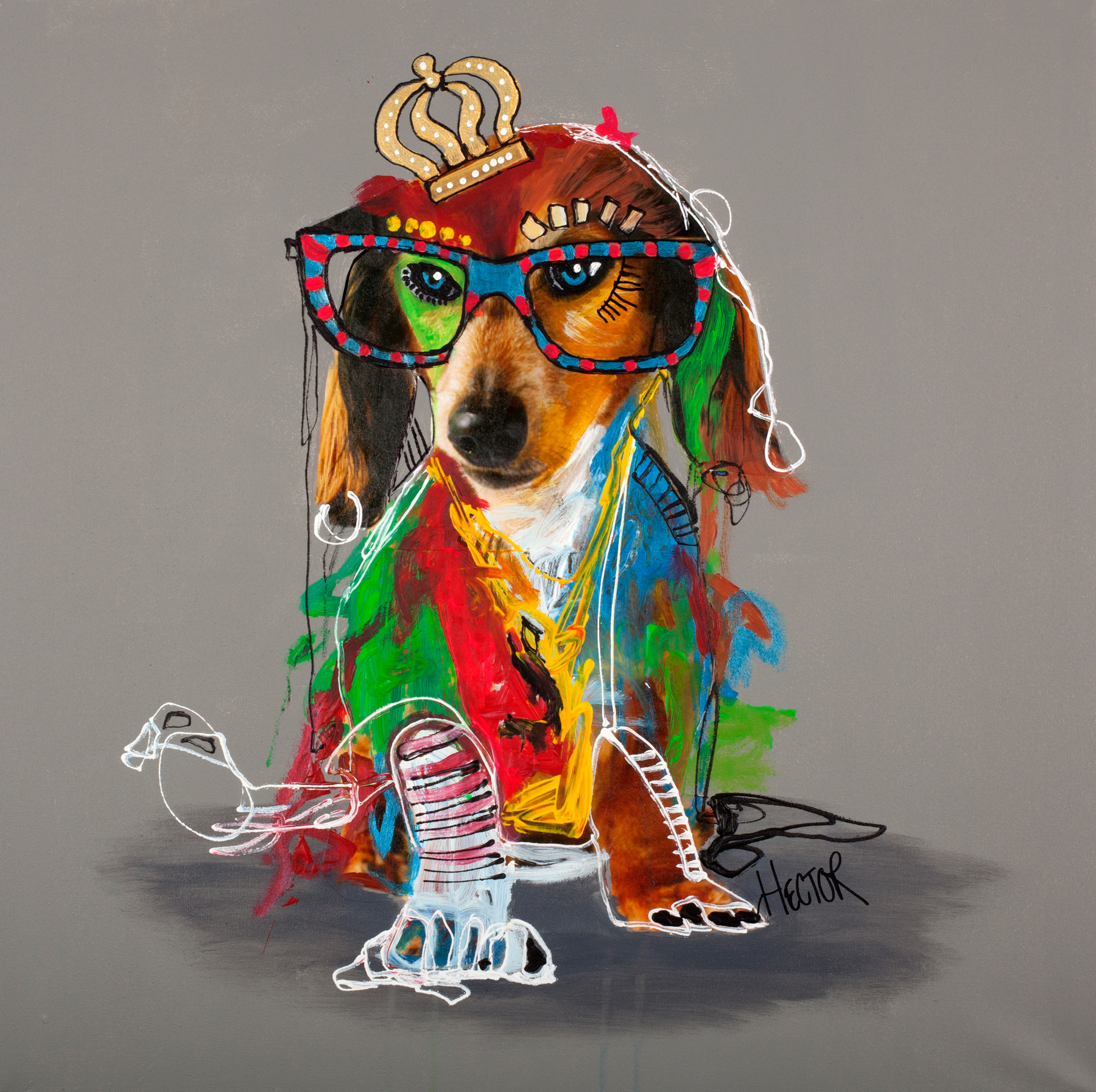 DOG 2 - Printed Wall Deco - 70 x 70 cm