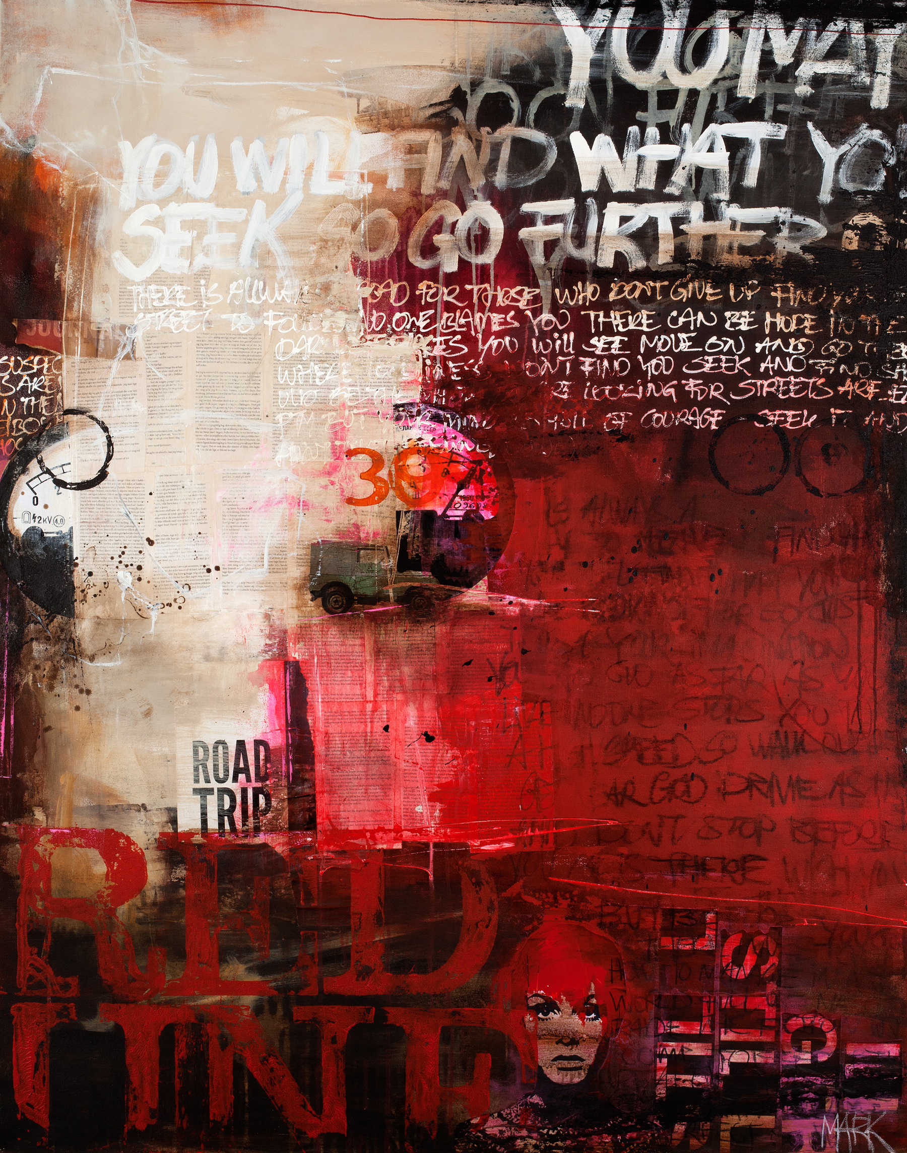RED LINE - Printed Wall Deco - 118 x 150 cm